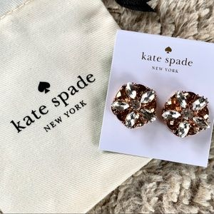 KATE SPADE Rose Gold Crystal Flower Studs